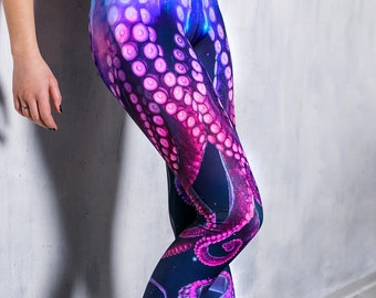 a07fcb931d44e Yoga leggings with octopus print, purple printed leggings, psy trance  clothing, leggings, kawaii clothing, workout leggings for running