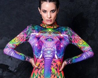 Glow in the Dark Festival Catsuit, rave costume, spandex catsuit, festival bodysuit, psychedelic festival clothing, rave outfit, Burning man