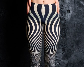 6d7b13e58cc2cf Psychedelic printed leggings, striped women leggings yoga, festival  clothing, rave outfit, Festival wear, burning man, psy trance clothing