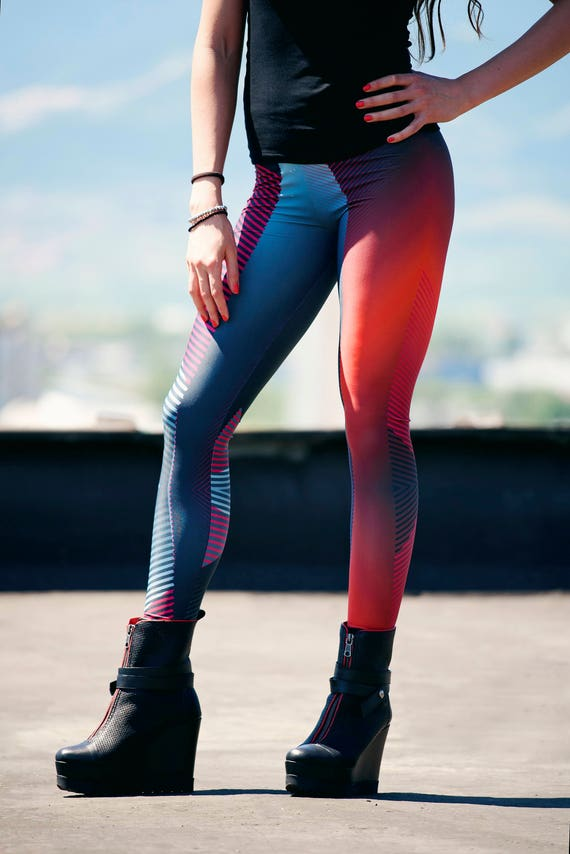 356c5f32a63e44 Striped Workout leggings plus size leggings aesthetic | Etsy