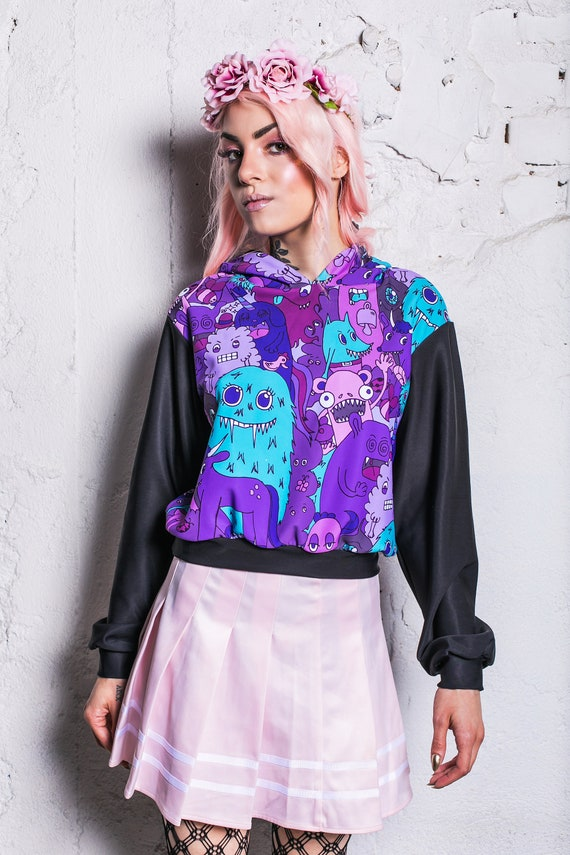 checkered hoodie psychedelic hoodie pastel goth clothing hoodies for women crop hoodie rave outfit Digital Hoodie cropped hoodie