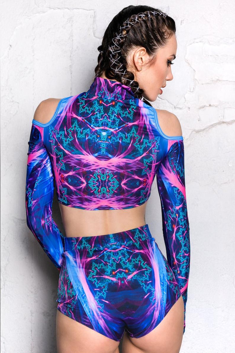 blue fractal rave shorts rave wear rave outfit Blue Festival Shorts high waisted shorts for women Burning Man clothing festival set