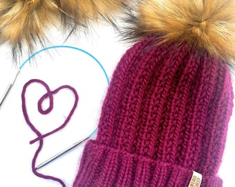 Spiral dots with Faux Fur Pom Double Brim Knit Hat Cranberry Red.