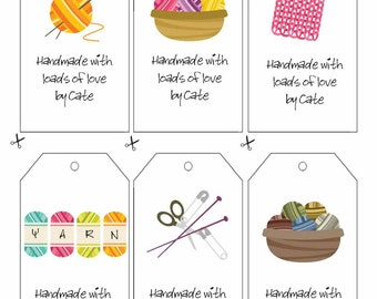 Happy Knitting Double Sided Gift Tags - PDF FILE ONLY