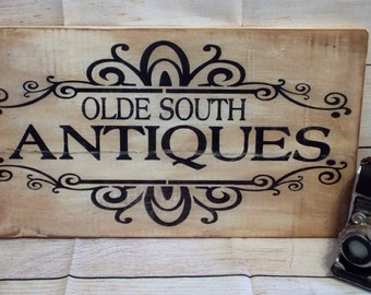 Olde South Antiques Handmade Distressed Wooden Sign Vintage Farmhouse Country Decor, Rustic Chic