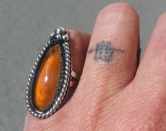 HONEYDRIPPER RING - Antique Glass and Sterling Silver size 5