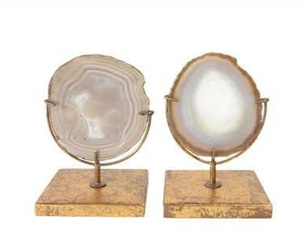 Agate Decor Display - Natural Colored Agate Slice - Gold - Sold Individually (not as set of two)
