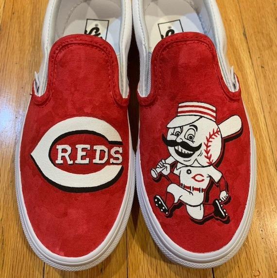 Hand-Painted Cincinnati Reds Shoes | Etsy
