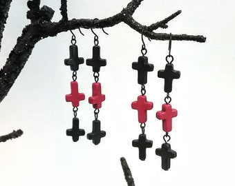 EXICRATION Gothic Howlite Inverted Crosses Black Purple Red Satanic Gemstone Old School Goth Cross Earrings