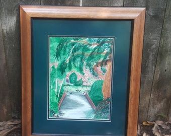 """Bridge at Springer watercolor 10X7"""" Original CC WILLOW Art"""