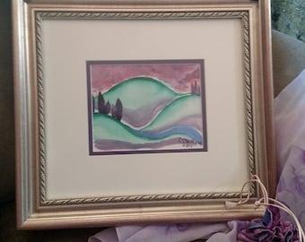 "Sunset Hills 1  watercolor 7X5.5"" Original CC WILLOW Art"