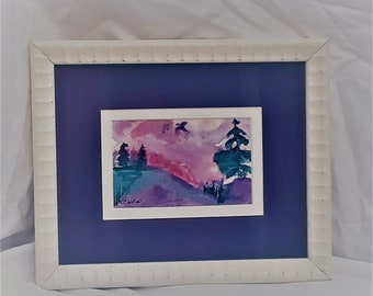 "Evening Flight  2x4 watercolor Original CC WILLOW Art"""