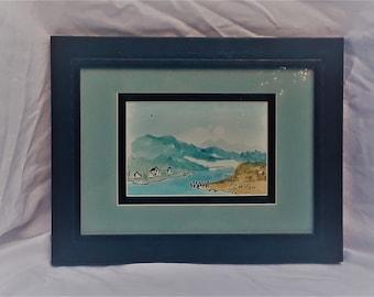 "Houses on Taft Bay 5.75x3.75""watercolor Original CC WILLOW Art"