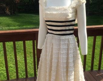 9d3f2f41783f Vintage 1950s Ceil Chapman Party Dress--Ivory Lace--Taffeta