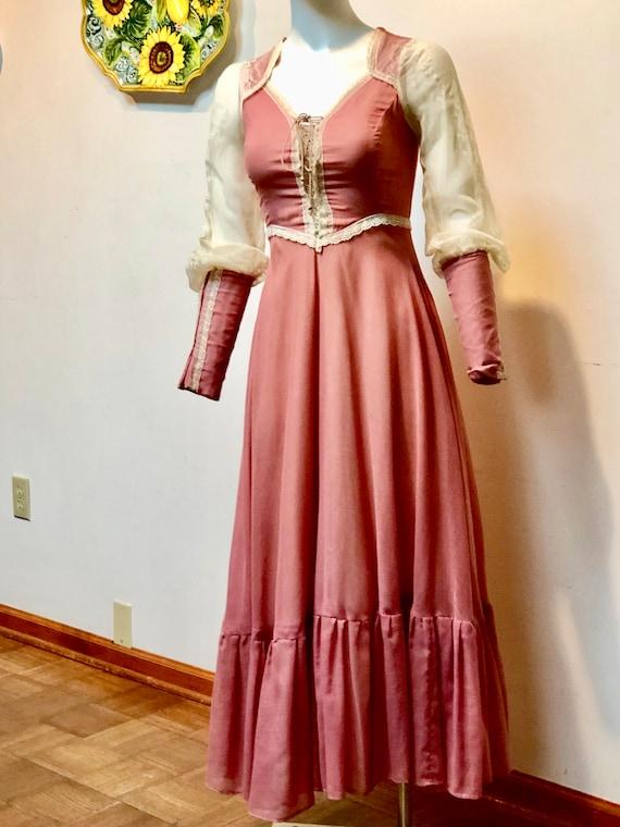Vintage 1970s Rose colored GUNNE SAX dress--Black