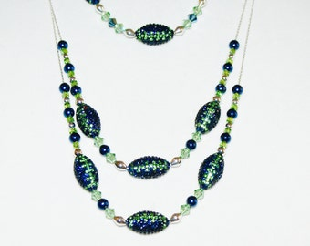 Seahawks' colors Crystal Laden Football Necklace