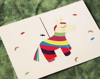 "Postcard ""piñata"" card / deco correspondence stationery"