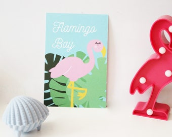 Map postcard flamingo tropical bay