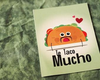 "Postcard ""Te taco mucho"" / deco tacos correspondence stationery"