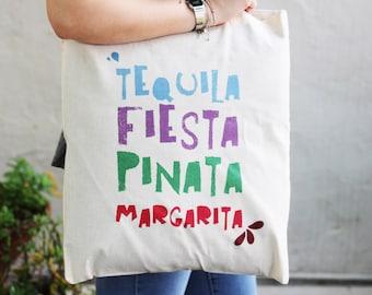 Totebag 100% cotton Tequila / handbag tote any margarita tequila fiesta pinata mexico fashion