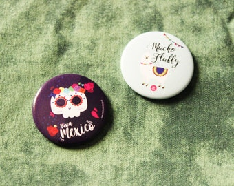 """Lot of two magnets """"Viva mexico"""" and """"lama fluffy"""" / cute festive Mexican magnet"""
