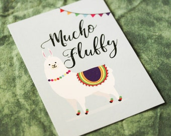 """Postcard """"Llama""""Fluffy""""card / deco correspondence stationery"""