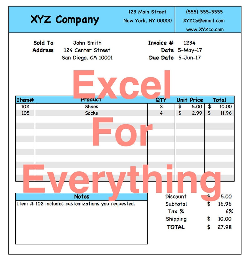 Excel Customer Invoice Template with Automated Calculations