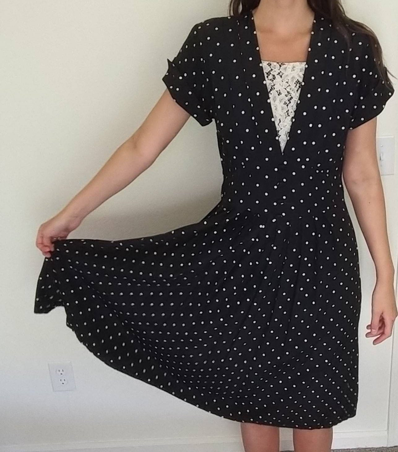 becb236f7cf7 Vintage Black And White Polka Dot Dress