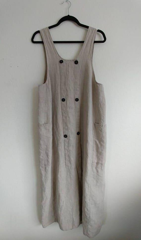 Vintage Flax Button Pocket Dress