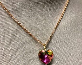 Swarovski rainbow heart necklace