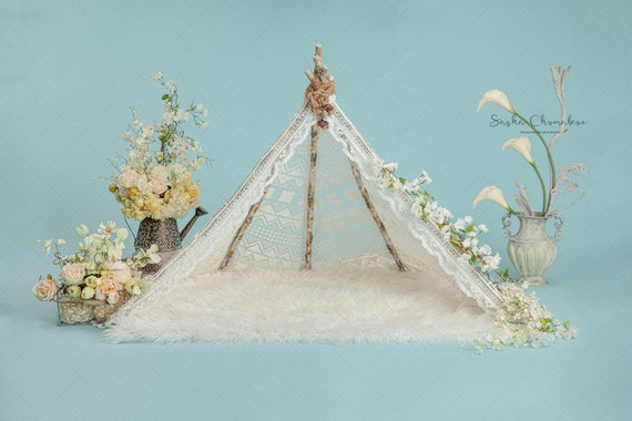 background newborn baby girl or boy toddler hanging basket heart  Christmas cream white   blanket Digital backdrop