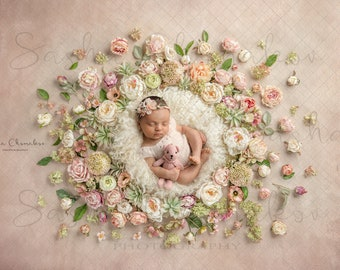 Digital backdrop background newborn   girl  floral  flowers cream fur blanket overhead pink peach wreath