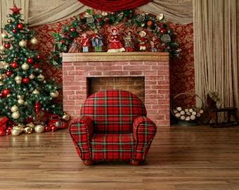 Digital backdrop background traditional Christmas