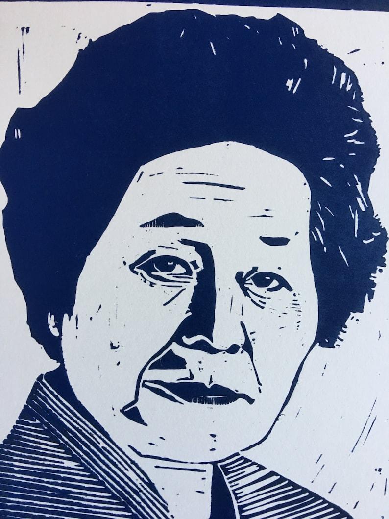Linocut Portrait of Sensei Keiko Fukuda Last Living Student image 0