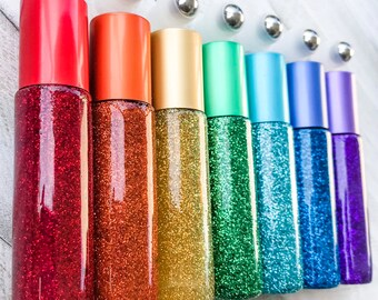 Set of 7 Rainbow Glitter Glittered Glass 10ml Essential Oil Stainless Steel Roller Roll-On Ball Bottles, Aromatherapy NO OILS INCLUDED