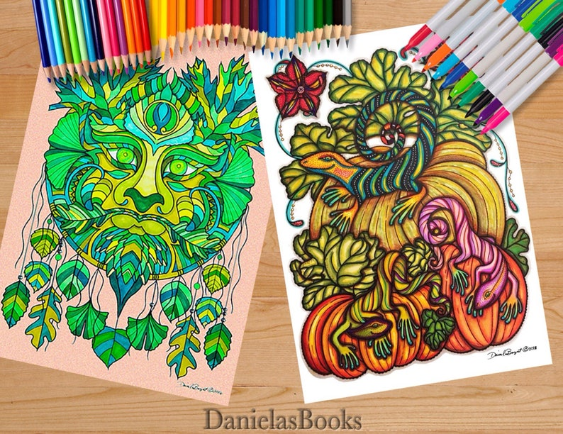 Magical Garden Book 12x18 Inches Greenman Faries Dragon Sunflower Face Advanced Coloring Books For Adults By Danielasbooks