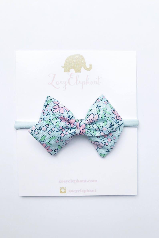 Toddler Girl Bow Clip Baby Shower Gift Baby Headband Newborn Headband Toddler Hair Clip Blue Bow Mint Floral Hair Bow School Girl Bow