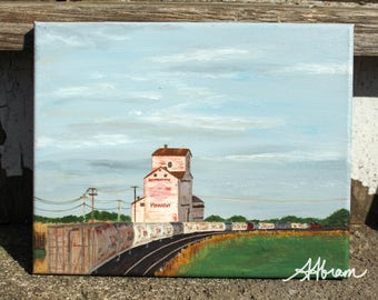 Canadian grain elevator train original acrylic painting