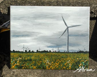 Wind turbines on wolfe island, original acrylic painting