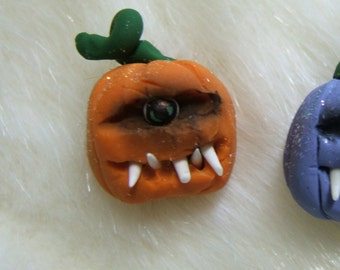 Toothy One Eyed  Halloween Dollhouse Miniature 12 th scale Pumpkins