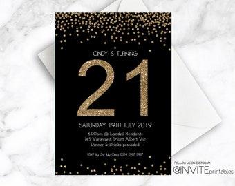 Gold Birthday Invitation, Gold Glitter Invitation, Gold Confetti Invite, 21st Birthday Invitation, Black, Gold Foil, Glitter, Male, Female