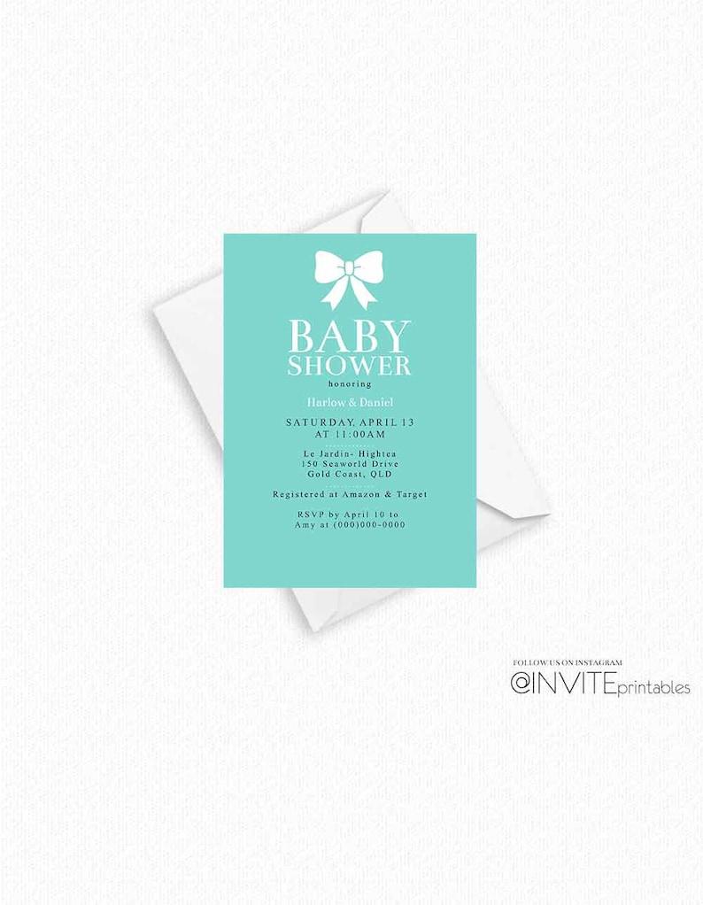 Tiffany Invitation Baby Shower Blue TIffany Invite