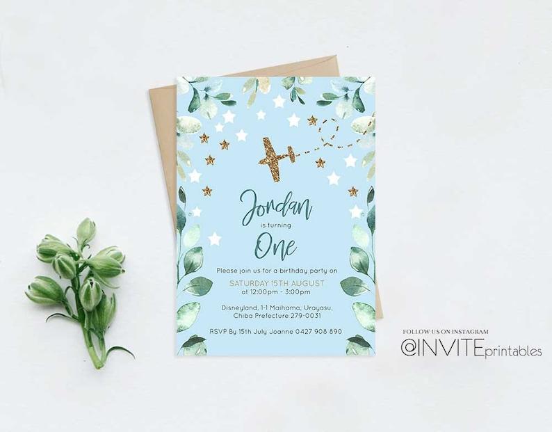 Plane Birthday Invitation Pastel Blue Party Invite Plane Green Invitation Aeroplane Invite Boy Party Invitation Blue Sky Leaf Stars Invites