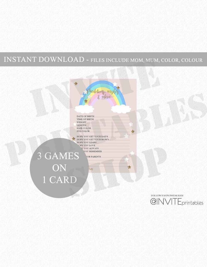 Rainbow Predictions Advice Wishes Watercolor Baby Shower Games Rainbow Watercolor Games Baby Advice Predictions Colorful Baby Shower Game