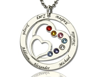 85cf2920576d95 Personalized Heart in Heart Birthstone Name Necklace in 925 Sterling Silver