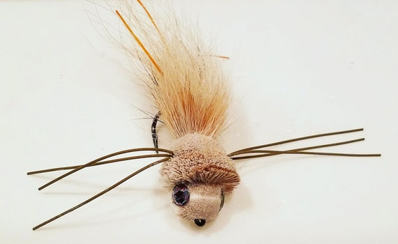 Deer Hair Mouse Flies Size 2 Hook Great for Trout and Bass Three 3