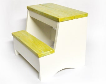 Wood Step Stool - Distressed Yellow/White Combo