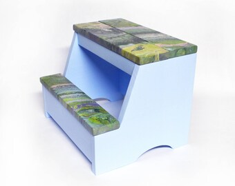 Wood Step Stool - Abstract Greens/Light Blue Combo