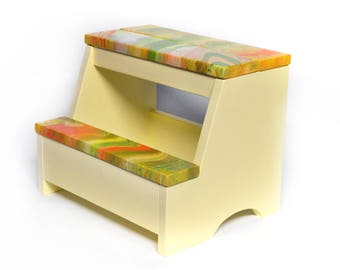 Wood Step Stool - Abstract Yellow/Green/Orange Combo