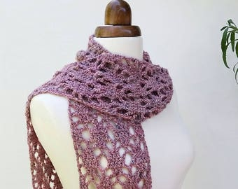 Dusky pink lacy scarf, silk and mohair, crochet scarf, women's scarf, winter accessory, gift for her